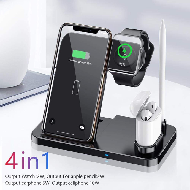 4 in 1 Stand Fast Wireless Charger for Apple Pen Watch Series for iPhone X Xs Max Xr 8 Plus Airpods Charging Dock Station, Black