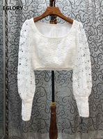 Crop Tops 2020 Spring Summer High Quality Tops Women O Neck Allover Crochet Lace Embroidery Long Sleeve Sexy White Tops Blouses
