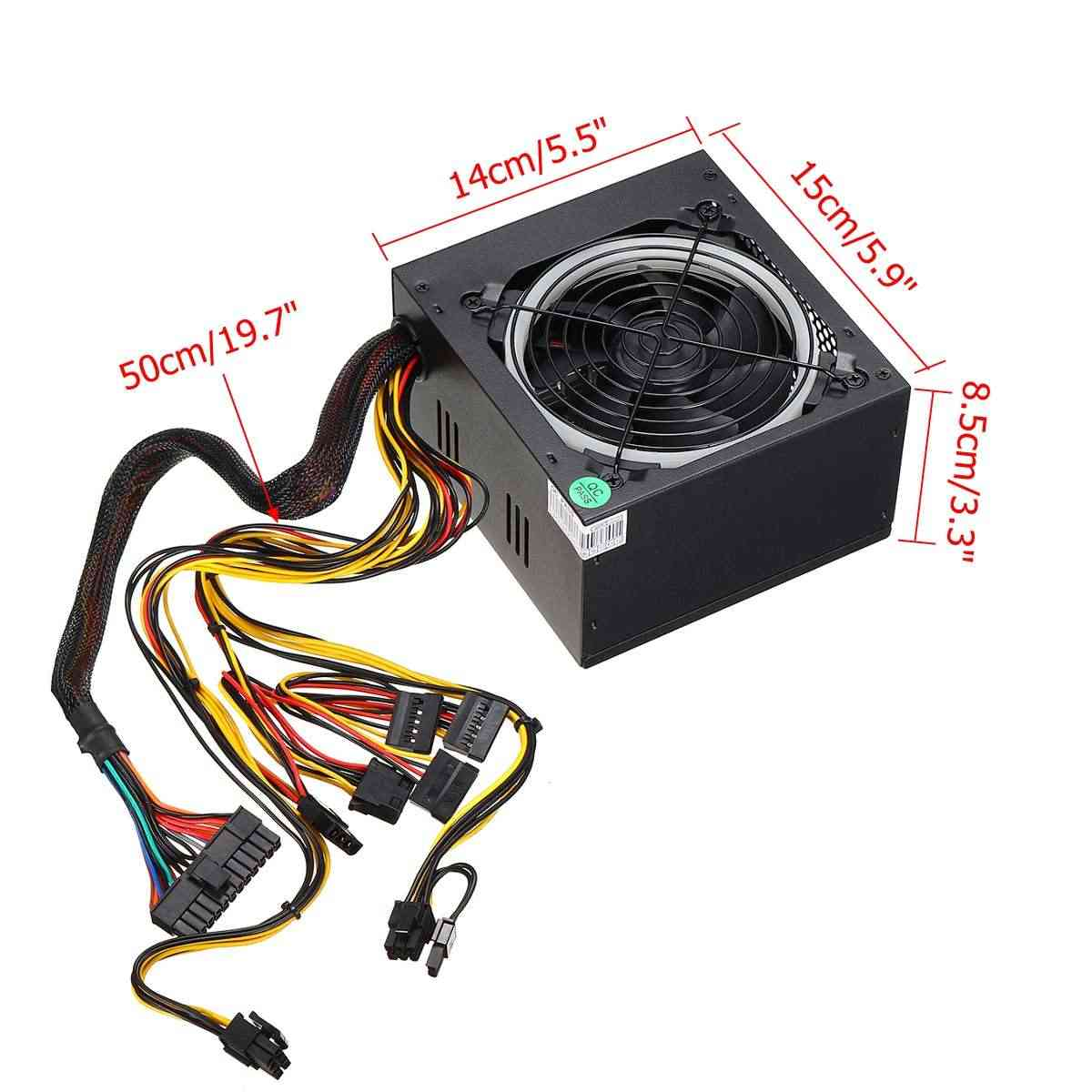 Max 800W zasilacz PSU PFC 110V US wtyczka 12cm wielokolorowe oświetlenie LED wentylator 24 Pin PCI SATA 12V ATX komputer do gier zasilacz