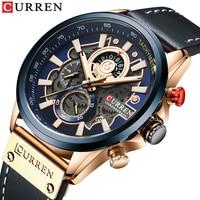 Curren Große Zifferblatt Uhren Herren Top Luxus Berühmte Marke Uhren Blau Quarz Military Watch herren Uhr Relogio Masculino