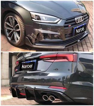 Carbon Fiber Front Lip Splitters Spoiler Bumper Wind Knife Rear Diffuser Fits For Audi A5 S5 2017 2018 2019