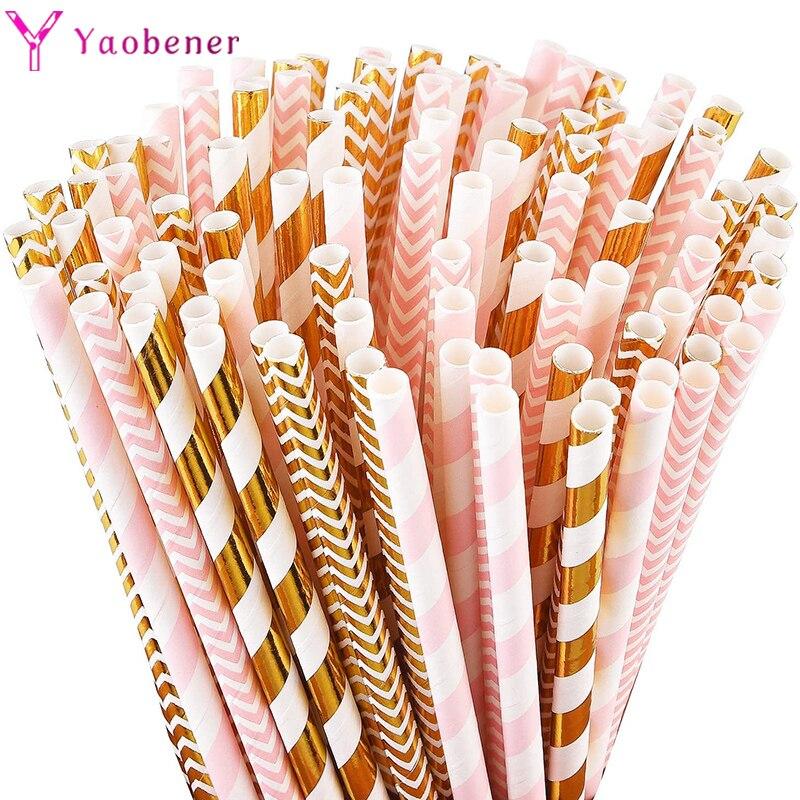 25 pçs rosa ouro rosa azul papel palhas festa de aniversário decoração adulto crianças bebê menino menina casamento chá de fraldas suprimentos de mesa 1st