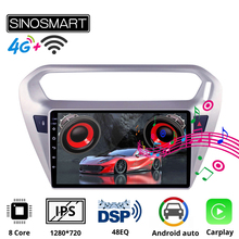 Sinosmart 2 5D ekran IPS QLED 8 rdzeń DSP 48EQ Radio samochodowe z nawigacją GPS dla Peugeot 301 2013-2016 tanie tanio CN (pochodzenie) Double Din 10 1 4*50w (Peak) Android 8 1 Jpeg Other Plastic 1280*720 Bluetooth Wbudowany gps Nadajnik fm