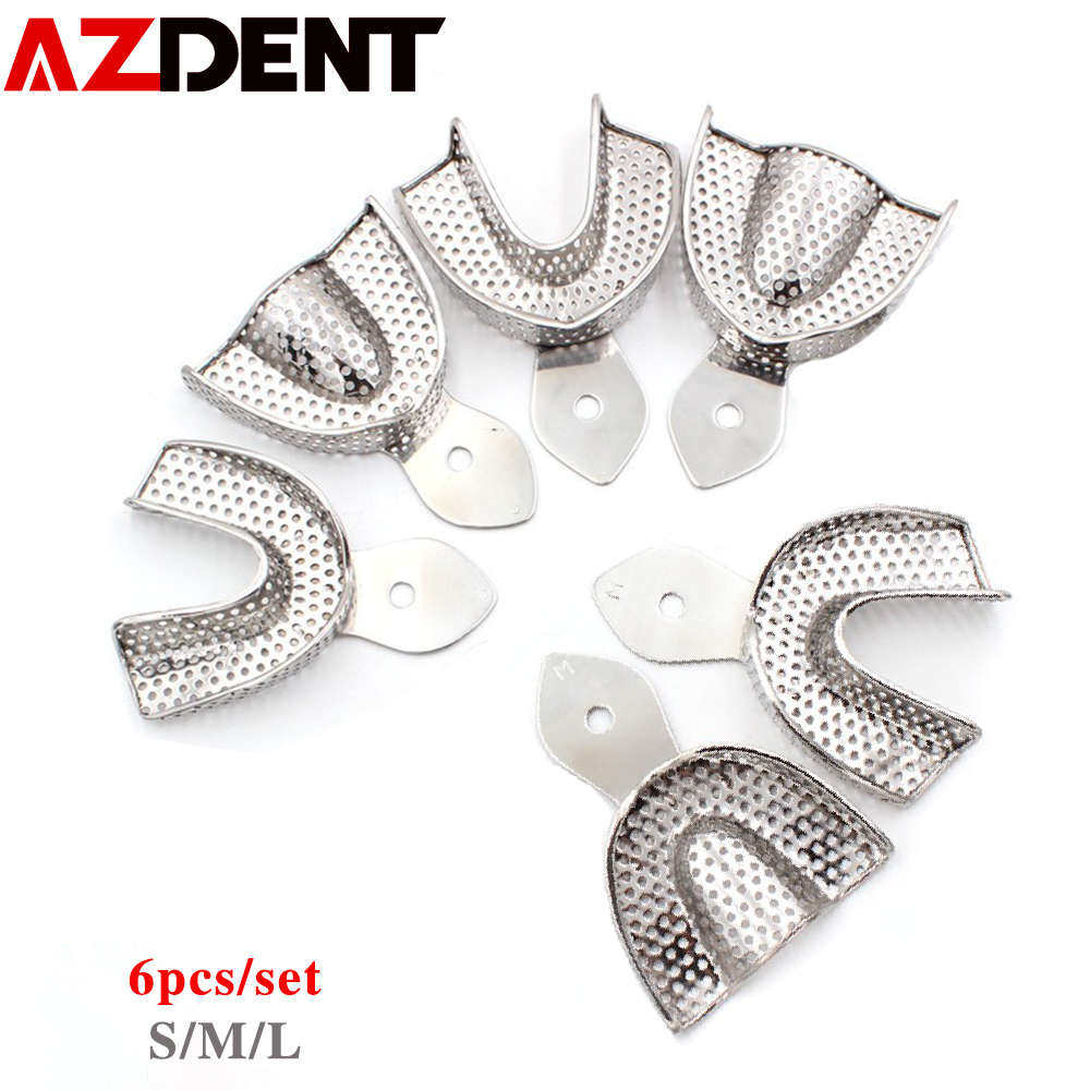 6pcs/set Dental Impression Tray Stainless Steel Teeth Tray Autoclavable Denture Instrument Trays Den