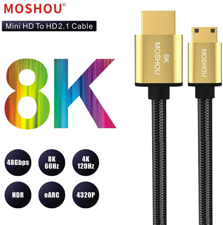 8K Mini HDMI-Совместимость с HDMI-совместимым кабелем HDMI-Поддержка кабеля 2,1 8K @ 60Hz 4K @ 120Hz 48 Гбит/с eARC HDR10 HDCP2.2
