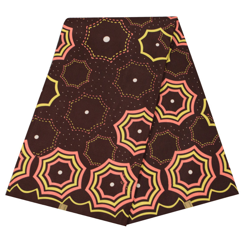 New Arrivals Fashion Design African Veritable Real Dutch Wax Brown Pattern Printed Fabric African Real Holandais Wax Fabric