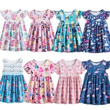 Летнее платье для маленьких девочек, летающее платье с коротким рукавом для косплея, праздничное платье для маленьких детей, детский пляжны...