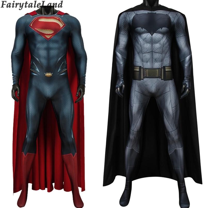 Batman V Superman Dawn Of Justice Cosplay Costume Printed Bodysuit Bruce Wayne Jumpsuit Outfit Steel Superman Clark Kent Costume