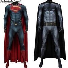 цена на Batman v Superman Dawn of Justice Cosplay costume printed Bodysuit Bruce Wayne Jumpsuit Outfit Steel Superman Clark Kent Costume