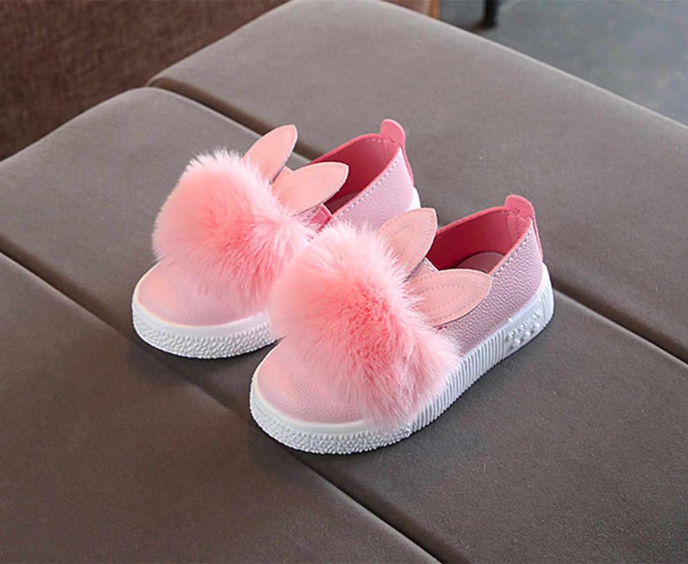 เด็กรองเท้าสำหรับสาวรองเท้ากระต่ายรองเท้าของแข็งน่ารักแฟชั่น kawaii รองเท้าผ้าใบ Soft รองเท้าลื่น 2019 สำหรับสาวเจ้าหญิง Chaussure