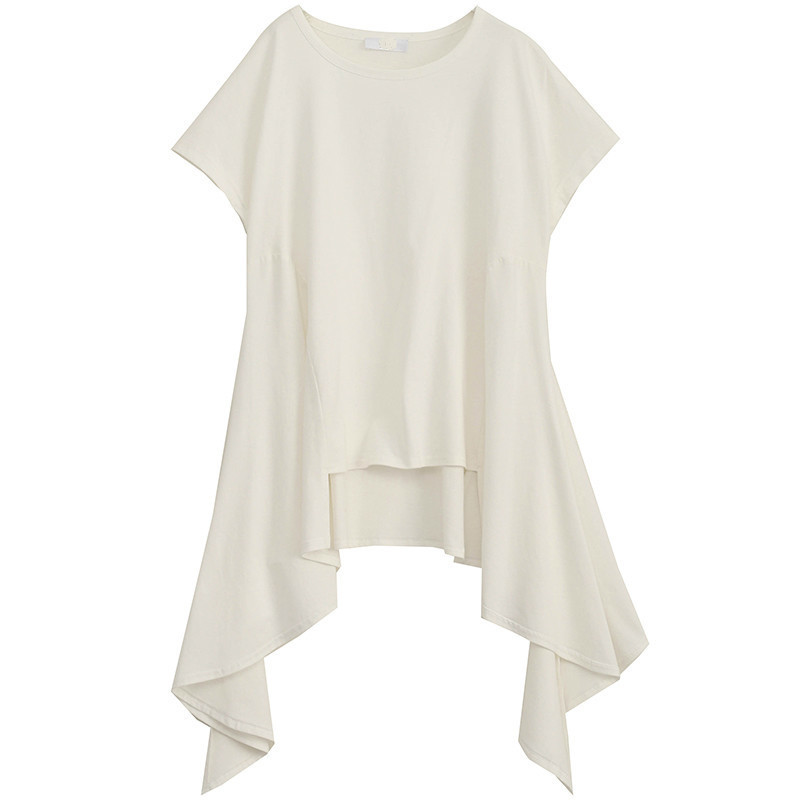 [EAM] Women White Asymmetrical Hem Split Temperament  T-shirt New Round Neck Long Sleeve  Fashion Tide  Spring Summer 2020 JY443 5