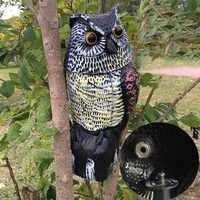 Búho de cabeza giratoria realista, repelente de aves, Control de plagas, espantapájaros, decoración de jardín, ahuyentador, estatua de ratón de serpiente
