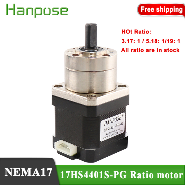 Free Shipping Nema17 17HS4401S PG5.18:1 Extruder Gear Stepper Motor Ratio Optional Planetary Gearbox Step  Geared for 3D Printer