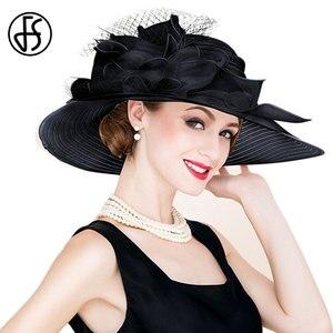 Image 3 - Fsブラックホワイトエレガント女性教会の帽子夏の花大つば帽子ビーチ日ケンタッキーダービー帽子fedora