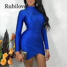 Rubilove Women Casual Bandage Party Spring Dress Long Sleeve Bodycon Mini Vestidos