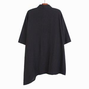 [EAM] Women Black Irregular Big Size Blouse New Lapel Three-quarter Sleeve Loose Fit Shirt Fashion Spring Summer 2020 1U398