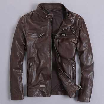 Free shipping.Sales quality vintage goathide leather men jackets,men\'s genuine leather jacket,classic motorcycle biker.casual