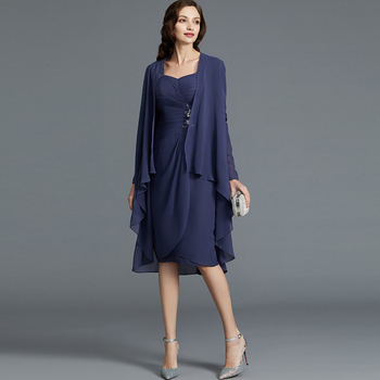 Charming Dark Blue Two Pieces Lace Short Mother of the Bride Dresses Three Quarter Sleeve Knee Length Wedding Party Gowns Pleat women s stylish slim three quarter sleeve small suit dark blue l