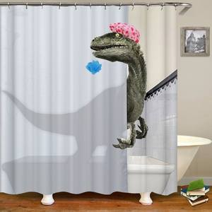 Bathroom Curtain Dinosaur-Print Waterproof Decor Lovely