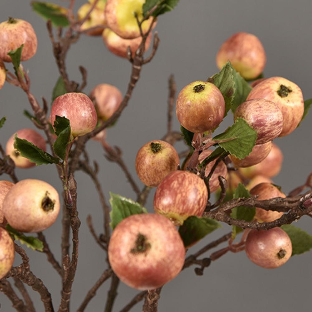 60 см 11 головок Искусственные Мини Яблоки дерево ветвь цветка как настоящие Искусственные цветы имитация растение для домашнего сада Свадеб... - 4