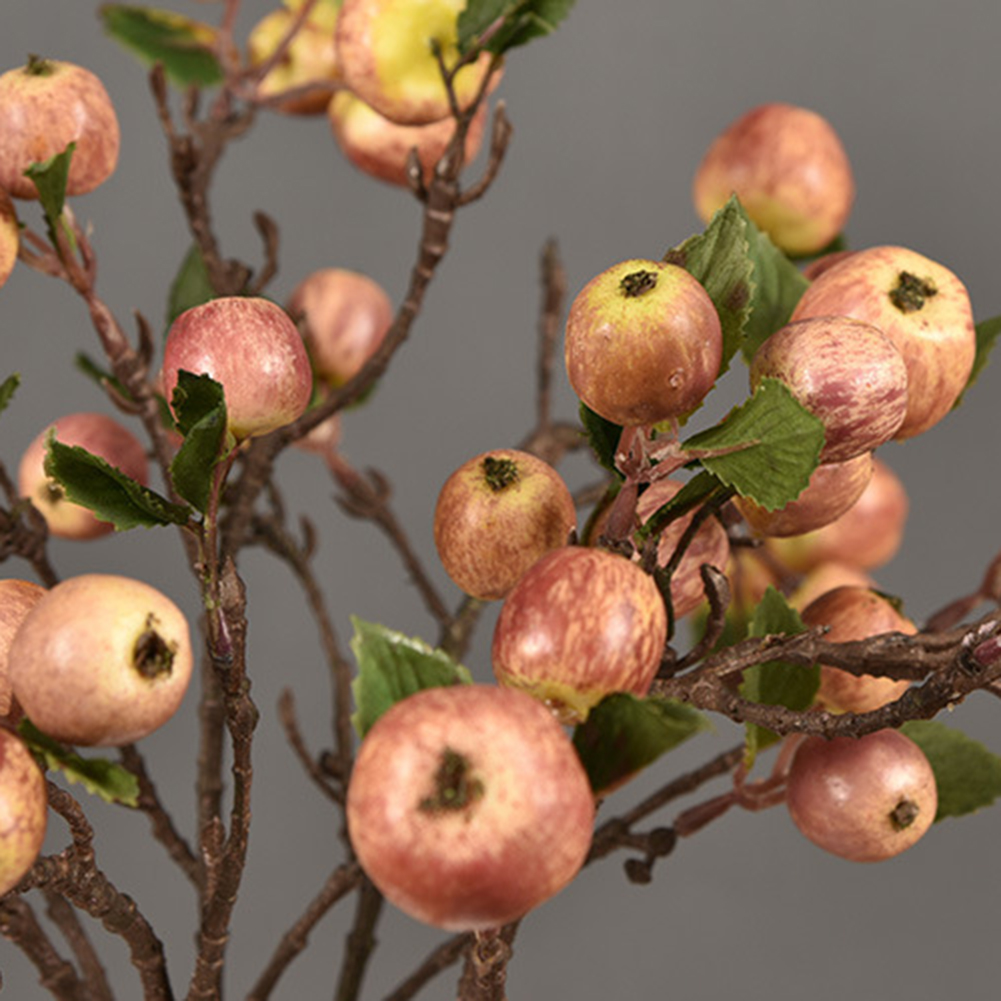 60cm 11 Heads Artificial Mini Apples Tree Flower Branch Real Touch Fake Flowers Simulated Plant Home Garden Wedding Decoration - 4