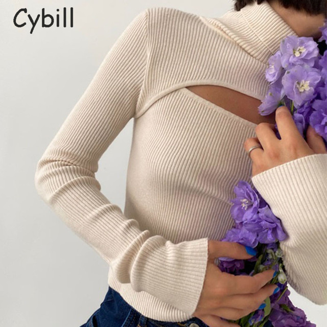 Cybill Ribber Knitted Turtleneck Top Women Hollow Out Casual Long Sleeve T Shirt Skinny Autumn Winter Slim Tee Lady Clothing