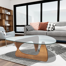 Dropshiping Tempered glass coffee table for living room furniture sofa side table triangle table walnut base glass top