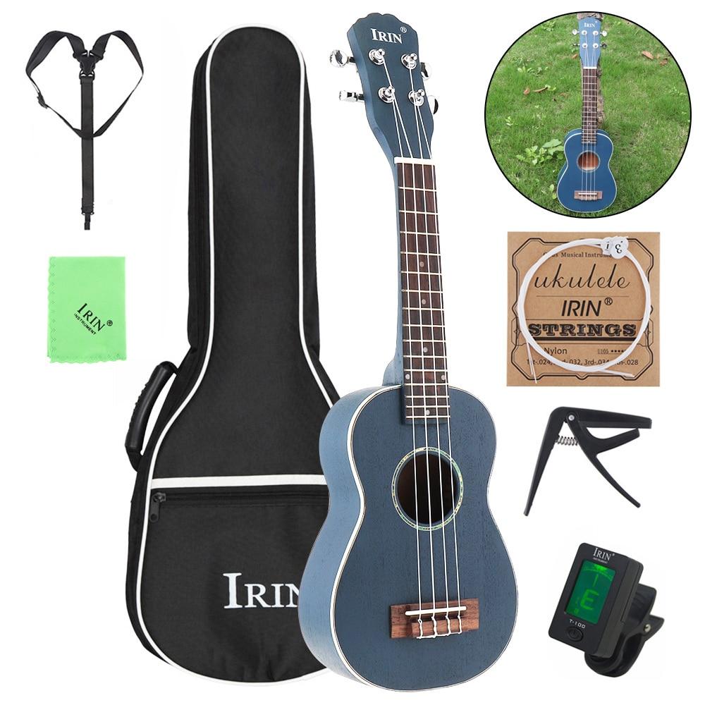 21 pouces Soprano ukulélé bois d'épicéa 15 frette quatre cordes guitare + sac + accordeur + cordes + Capo + sangle + tissu
