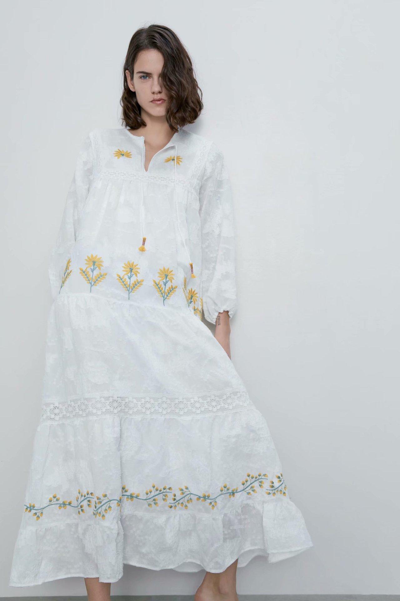 2020 new Spring Summer European Embroidered Long streetwear female Dress zaraing vadiming sheining Women dress maxi CDC9593