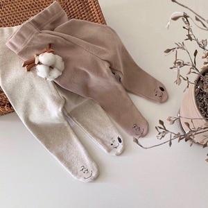 Newborn Fashion Baby Pants 2020 Boys Cotton Cartoon Print Bottons Toddler Girls Cute Leggings Infant Autumn Winter Trousers 0-2T