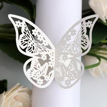 new fashion 20Pcs Butterfly Napkin Ring Paper Holder Wedding Banquet Dinner Table Decoration Hollow Design