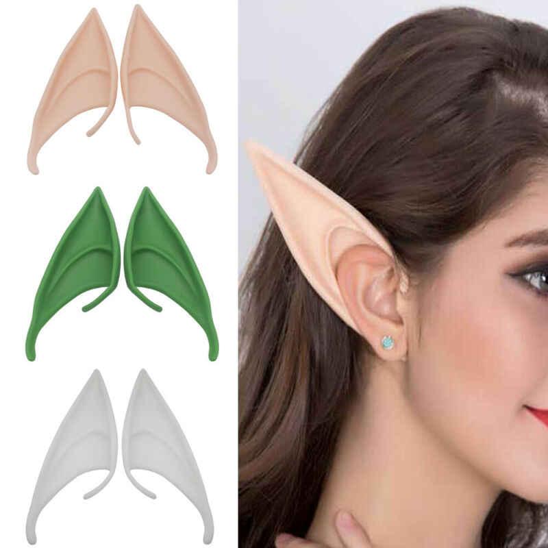 חדש לגמרי 1 זוג ליל כל הקדושים לטקס Elf אוזני פיות פיקסי קוספליי וו על אוזני תחפושת אבזר מסיבת מסכות