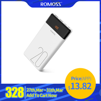 20000mAh ROMOSS LT20 Power Bank Dual USB Powerbank External Battery With LED Display Fast Portable Charger For Xiaomi For iPhone|Power Bank| |  -