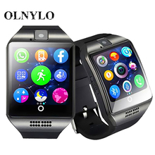 New Q18 Male Bluetooth Smart Watch with camera facebook whatsapp twitter sync sms smartwatch support sim tf card for ios android