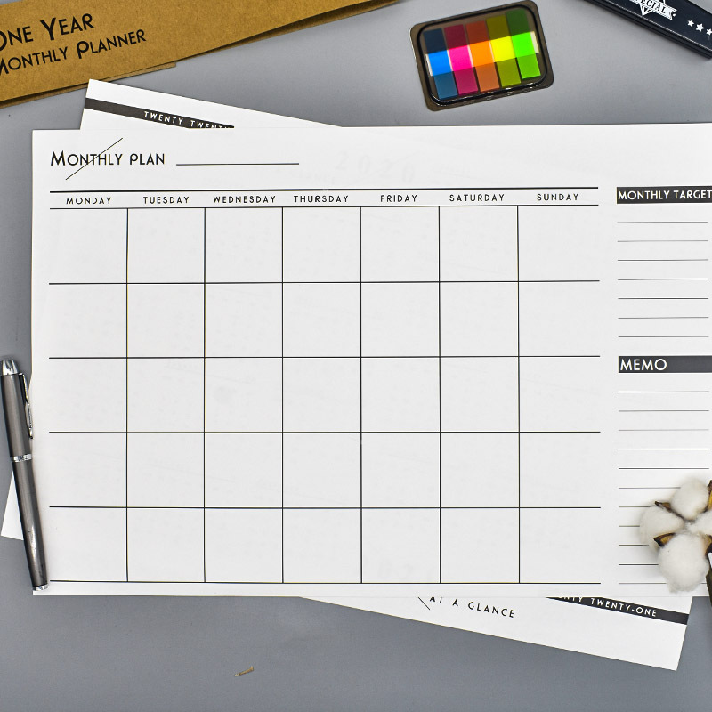 2020 Big Size Undated Monthly Planner Paper Pad 42*28.5cm Free Shipping