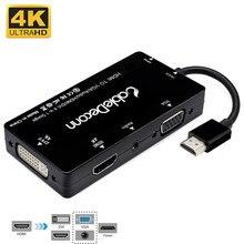 HDMI Splitter HDMI DVI VGA Audio แจ็คเคลือบทอง 4K สำหรับแล็ปท็อปคอมพิวเตอร์ HDTV PS3 Multiport 4 in 1 อะแดปเตอร์ HDMI