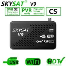 SKYSAT V9 CCCams serveur hd Newcamd DVB S2 récepteur Satellite SKYSAT V9 prise en charge WiFi 3G Youtube PVR PowerVu Biss récepteur Europe