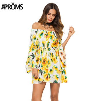 Aproms Summer Flare Sleeve Sunflower Print Dress Women Long Sleeve Off Shoulder Loose Dress 2020 Female Beach Streetwear Dresses 4