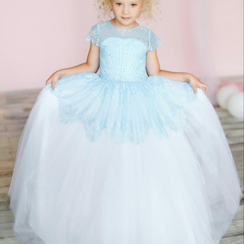 Lace Beaded Cheap Flower Girl Dresses for Wedding Crew Ball Gown Little Girl Wedding Dresses Cheap Communion Pageant Gowns
