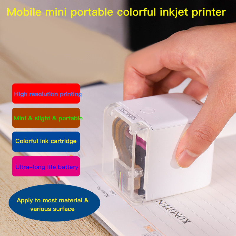 2020 New Arrival  KONGTEN MBrush  Color Handheld Printer Mobile  Label Maker Smart Wifi Mini Portable PrinCube Color Printer