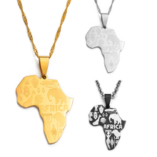 Map-Pendant-Necklaces Jewelry-Map Anniyo-Africa Women of Silver-Color/gold-Color -005021