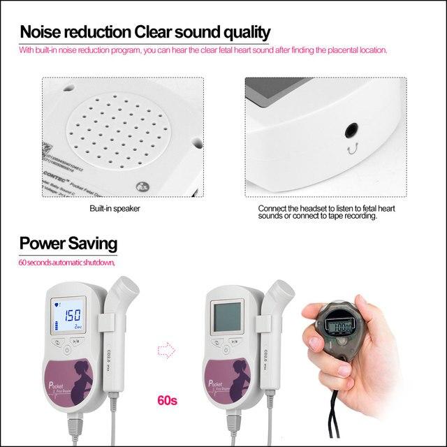 RZ Fetal Doppler Prenatal Pocket Digital Baby Sound C Ultrasound Detector Angel Heartbeat Pregnant Doppler Prenatal Monitor