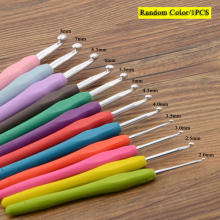 1 шт. многоцветная вязальная игла для рукоделия Мягкая рукоятка с эргономичной ручкой крючок для вязания крючком алюминиевая головка для плетения швейных инструментов Инструменты для изготовления подарка «сделай сам»
