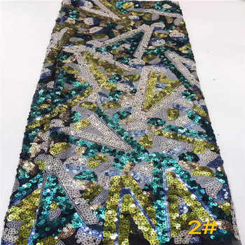 Nigerian Lace Fabrics 5yard 3D Sequins lace fabric net lace fabric 2019 Multicolor Sequins lace fabric for haute couture dress