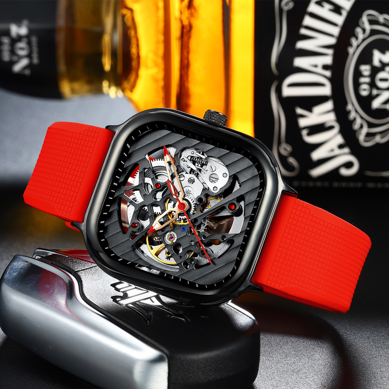 2020 new men's automatic watch top brand luxury silicone strap hollow Swiss square top ten watches 4
