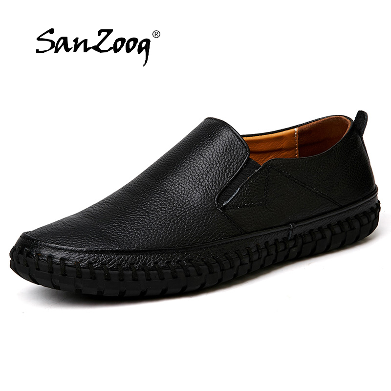 Shoes Loafers Mocassin Topsiders Genuine-Leather High-Quality Slip On Plus-Size Men's