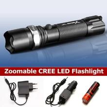 À prova dwaterproof água lanterna tática 1800mah 18650 recarregável flash luz cree XP E led lanterna toque lótus cabeça de metal
