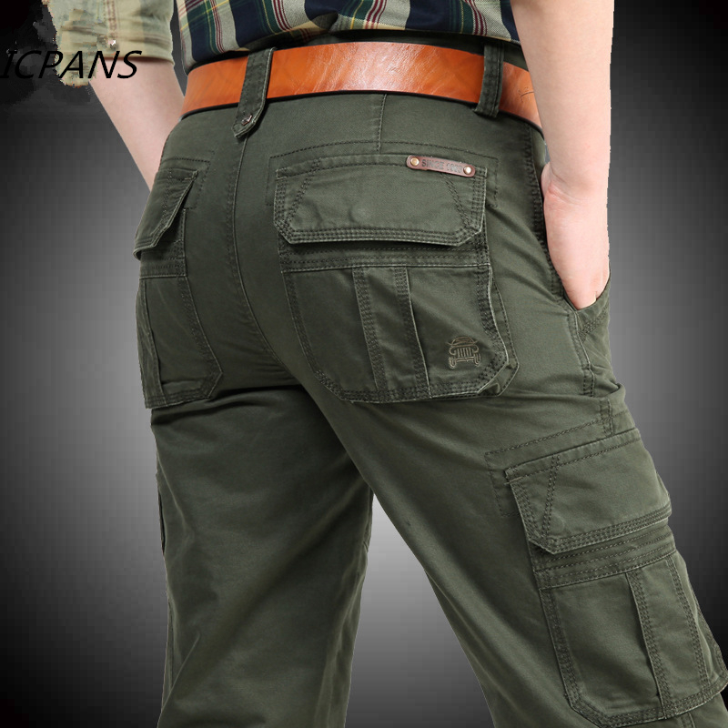 Hb39599b0f20b498c9784f4d0be8483b3R ICPANS Cargo Pants Mens Cotton Military Multi-pockets Baggy Men Pants Casual Trousers Overalls Army Pants Joggers Size42