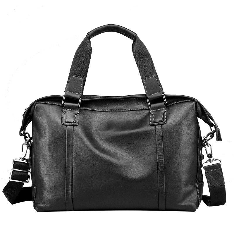 Fashion Cowhide Male Business Men Briefcase Bag Luxury Leather Laptop Bag Man Black Handbag Large Capacity Shoulder Bag