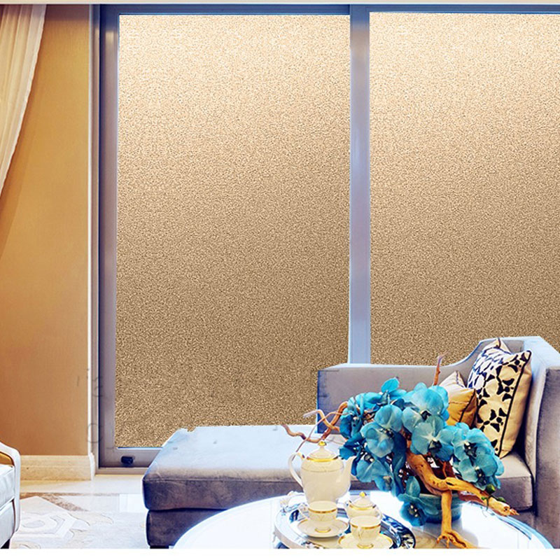 Glue free Matte Gold Frosted Decorative Film Window Sticker Privacy Glass Film Translucent opaque kitchen Shop Office Home Decor in Decorative Films from Home Garden